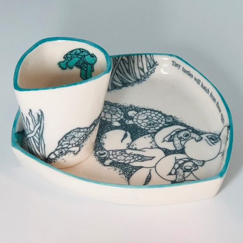 Turtle Hatching Plate + Cup